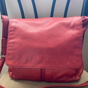 Vintage Stone Mountain Messenger Bag Red leather